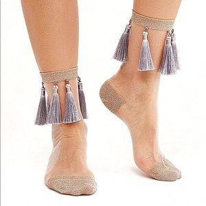 Free People Sheer tassel low crew socks